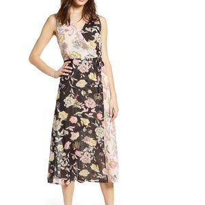 NWT Leith Floral Mix Faux Wrap Dress